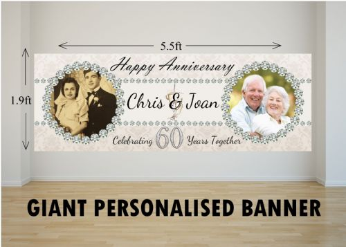 Personalised GIANT Large 60th Diamond Wedding Anniversary PHOTO Poster Banner N14